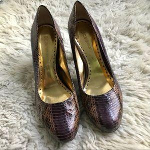 BCBGirls snakeskin purple brown gold Calista heels